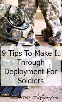 9 Tips To Make It Through Deployment For Soldiers. It really can be hard living overseas. I'm so glad I found this article. It's nice to be reminded that you are not the only one to feel lonely while you're deployed. These are some great tips to making the most of life away from home for my fellow service members.