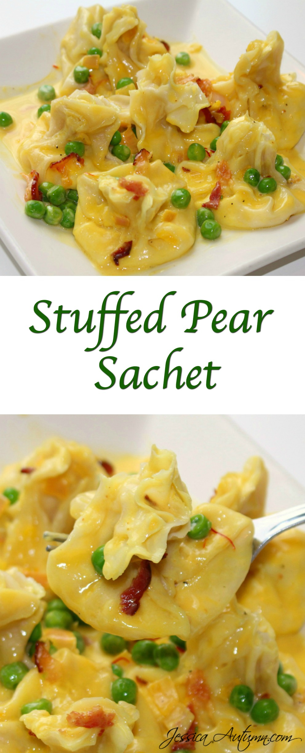 Stuffed Pear Sachet. I'm in love with this dish! Delicious pear and cheese filled pasta pouches with a creamy saffron sauce drizzled over the top. It's truly heavenly!