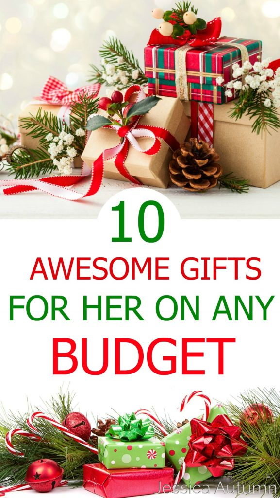 10 Awesome Gifts For Her On Any Budget {$10-$100}. These Christmas/ birthday gift ideas are perfect for any mother, sister, daughter, aunt, grandmother, friend, coworker, etc. Whether you're looking for cheap, fairly inexpensive, or higher budget these ideas are sure to help you out!