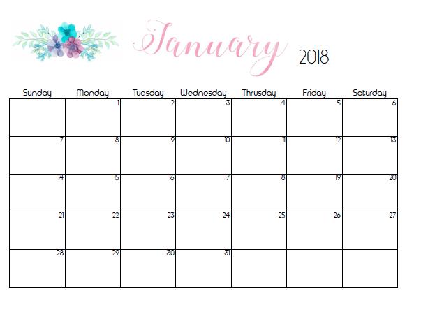 free 2018 monthly flower calendars printable
