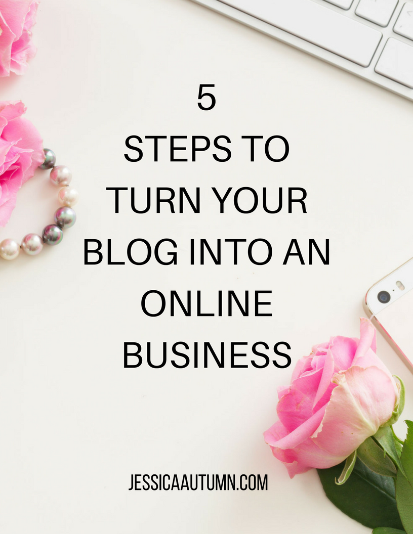 5 Steps to Turn Your Blog into an Online Business cheatsheet. Are you ready to stop just being another blogger in the sea of MILLIONS of bloggers and become a real online business owner? This cheatsheet introduces you to the blog to online business formula. This is the same formula that makes online business owners the big bucks! If you're ready to grow an email list and use it to make money online, click here to learn more!
