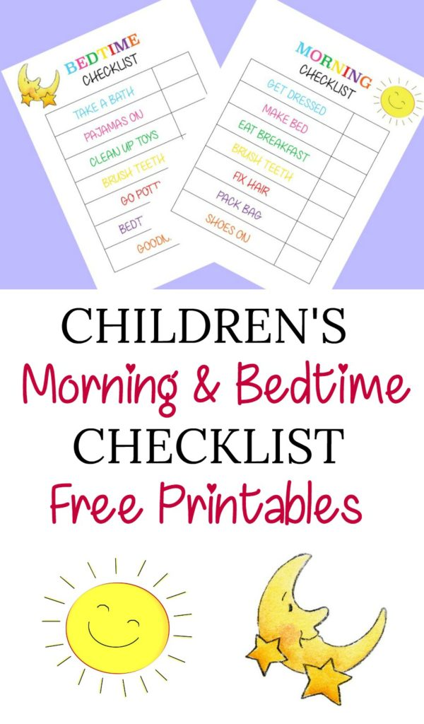Children\'s Morning And Bedtime Checklist Free Printables - Jessica ...