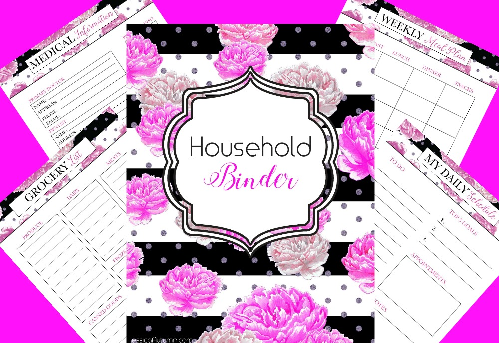 photo relating to Free Printable Household Binder named Crimson And Black Loved ones Binder Totally free Printables - Jessica Autumn